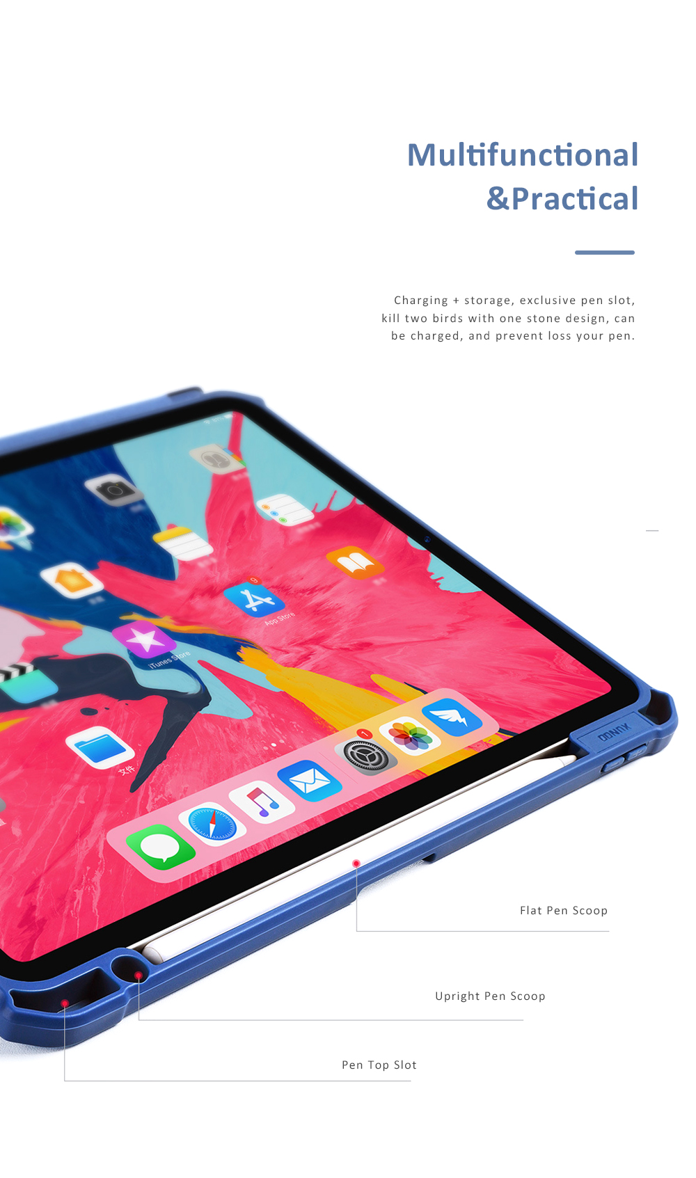 Magnetic Flip Protective Case for 2018 iPad Pro 11 Smart Stand Cover with Pencil Holder Support Auto Wake Sleep Function 5