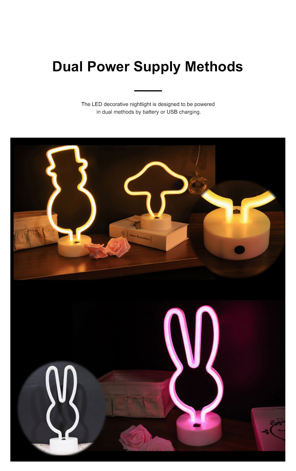 Decorative Rabbit Snowman Neon Type Night Lamp for Living Room Kid's Room Creative LED Nightlight Rechargeable USB Night Light 1