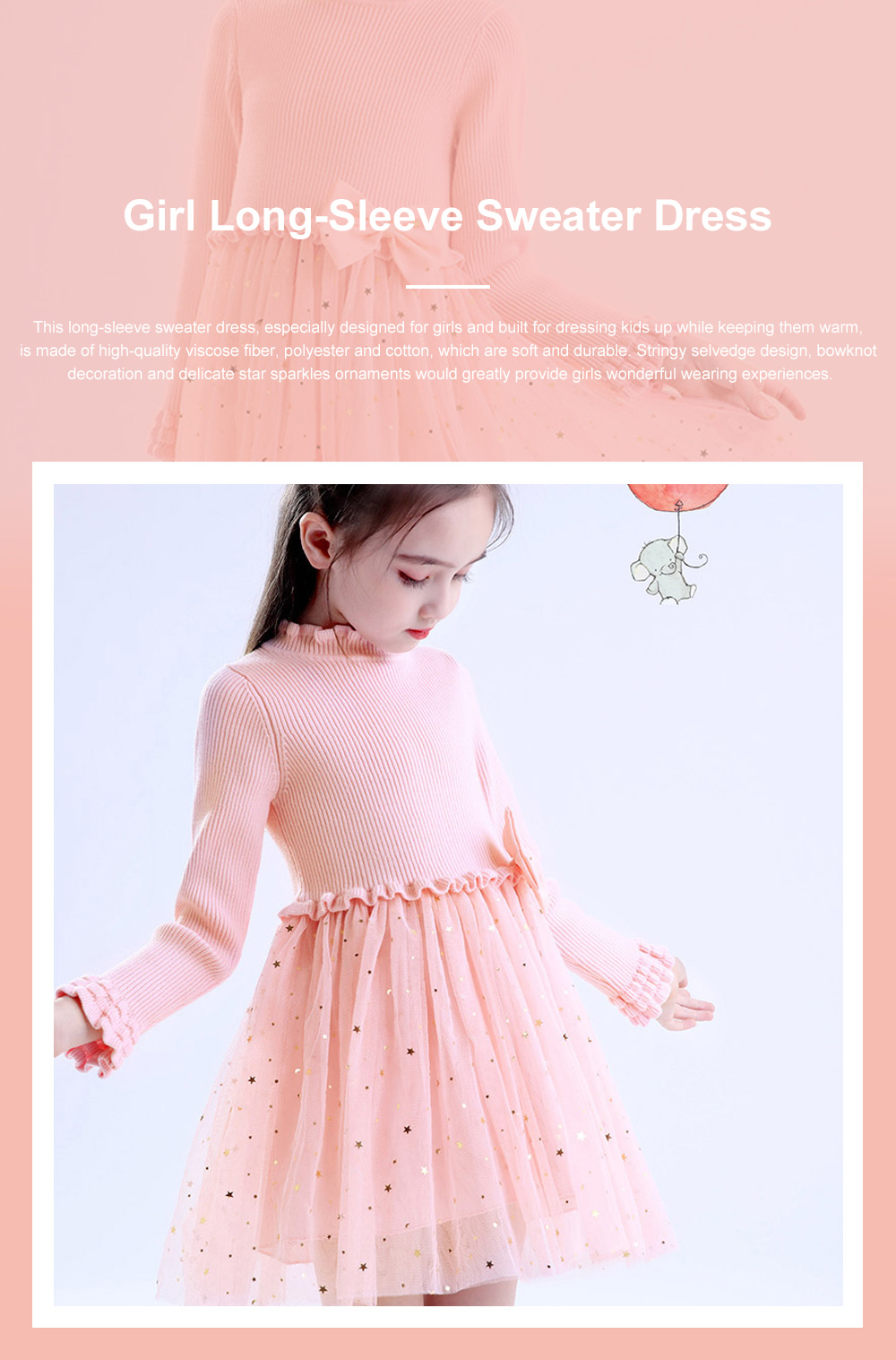 Fancy Elegant Winter Spring Autumn Children Girls Long-sleeve Sweater Dress Veil Princess Skirt with Star Sparkle Bowknot Decoration 0