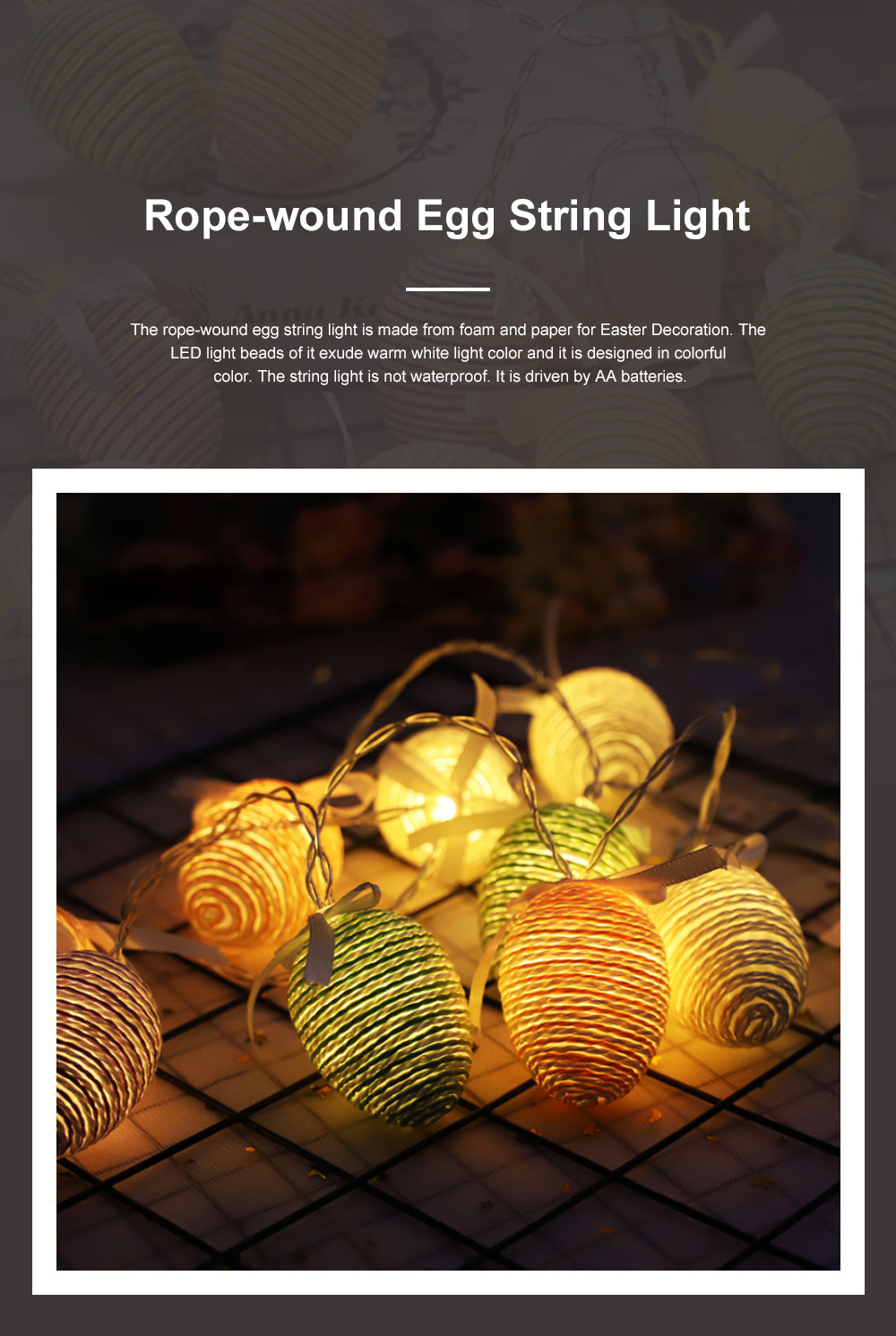 10 20 30 LEDs Creative Warm Rope-wound Colored Egg String Light for Easter Decoration Battery-powered LED Lamp String 1.5m 3m 4.5m Warm White 0