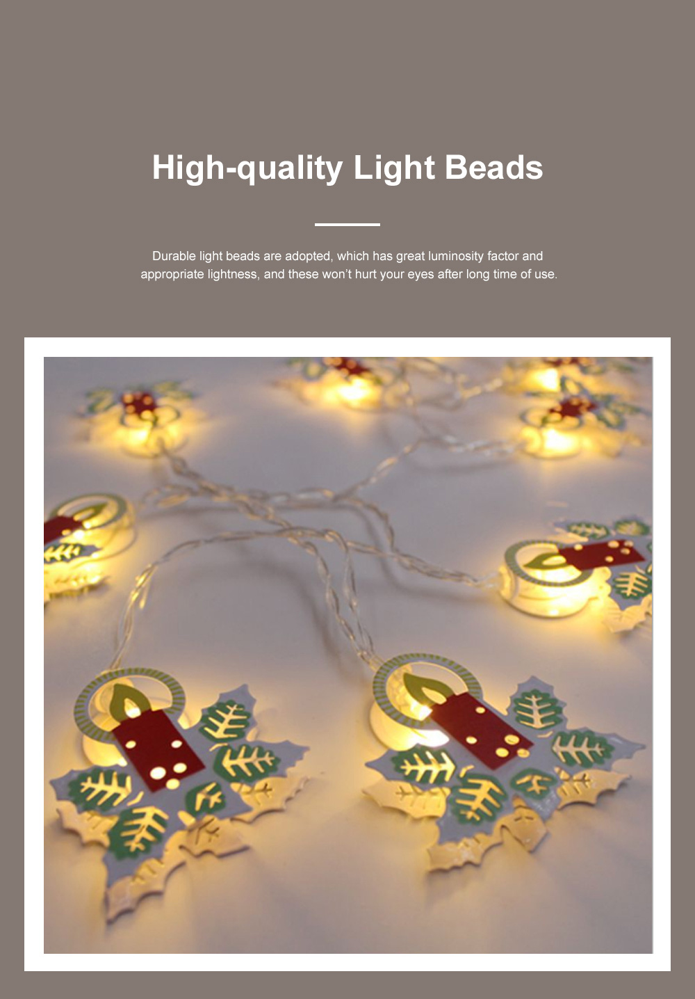 1.8m 10 Leds Cute Creative Colored Drawing Candle Bell Elk Snowman Model Lights String Christmas Decoration with Batteries Box 2