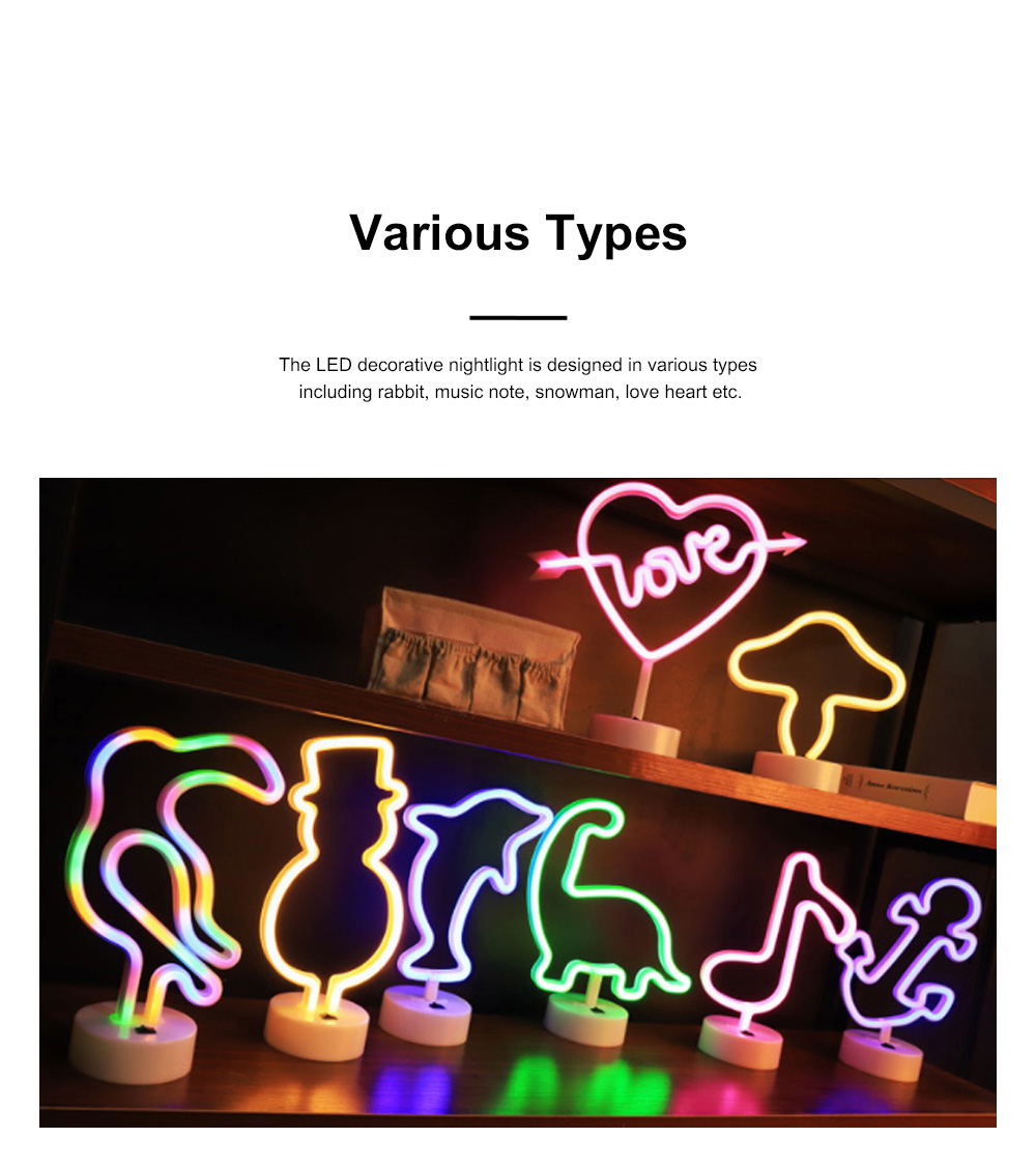 Decorative Rabbit Snowman Neon Type Night Lamp for Living Room Kid's Room Creative LED Nightlight Rechargeable USB Night Light 3