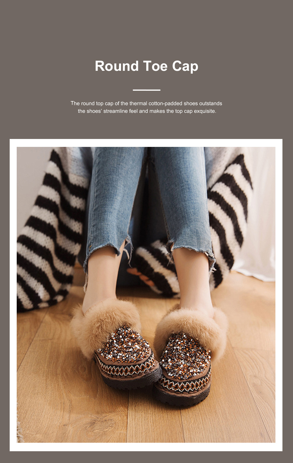 Thermal Cotton-padded Shoes for Women Winter Wear Paillette Flat-heeled PU Fur Shoes Thickened and Brushed Snow Boot 4