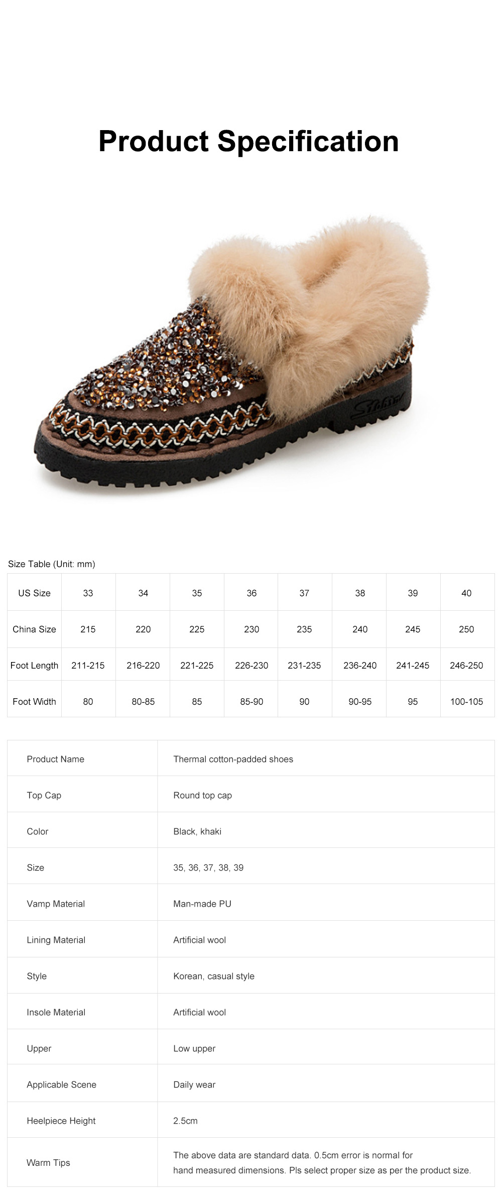 Thermal Cotton-padded Shoes for Women Winter Wear Paillette Flat-heeled PU Fur Shoes Thickened and Brushed Snow Boot 6