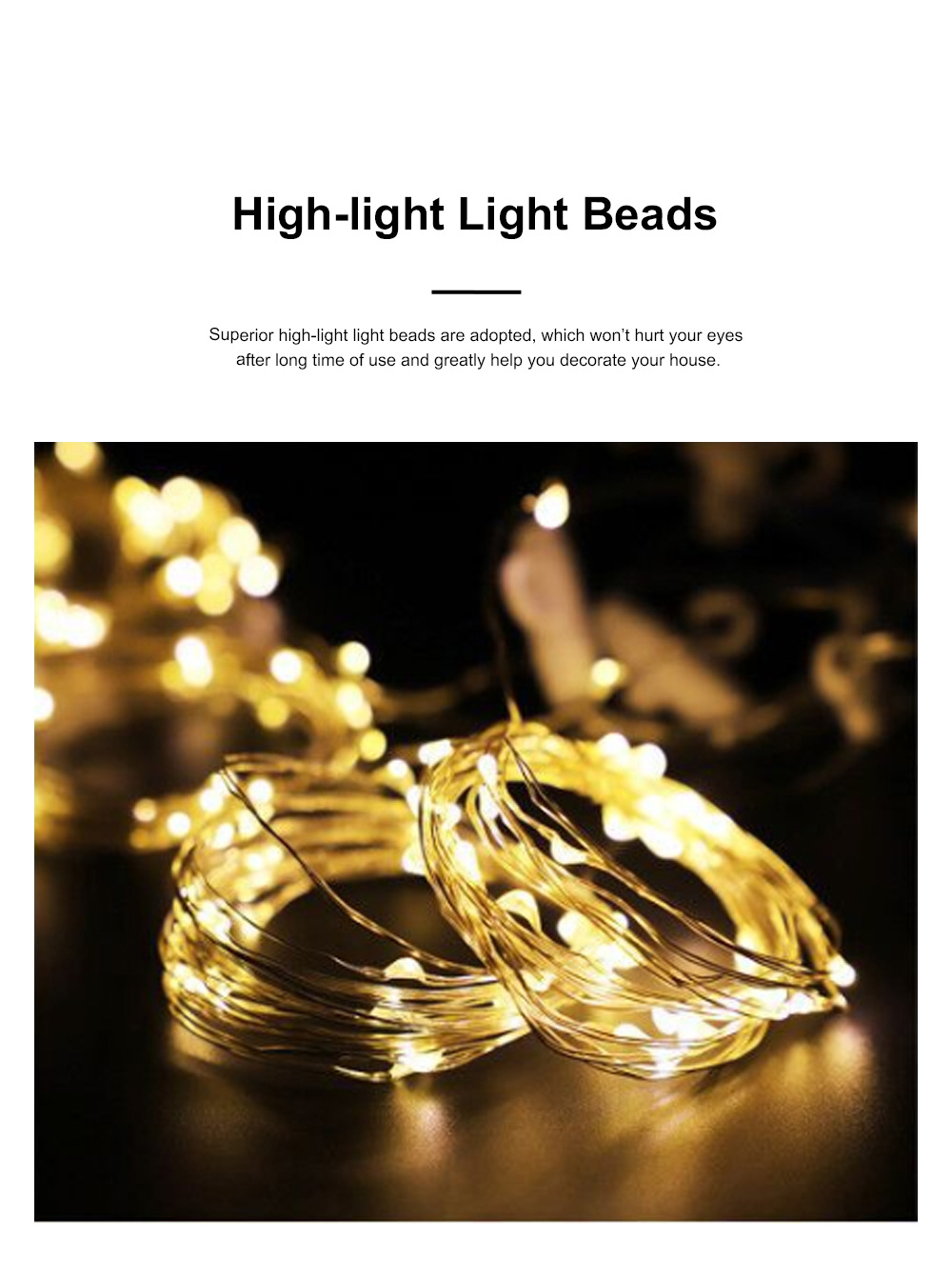 3 Pack 1m 100led Fancy Copper Wire Lights String Waterproof Curtain Lamps USB Control Room Decoration Ornament with Hook Christmas lights 1