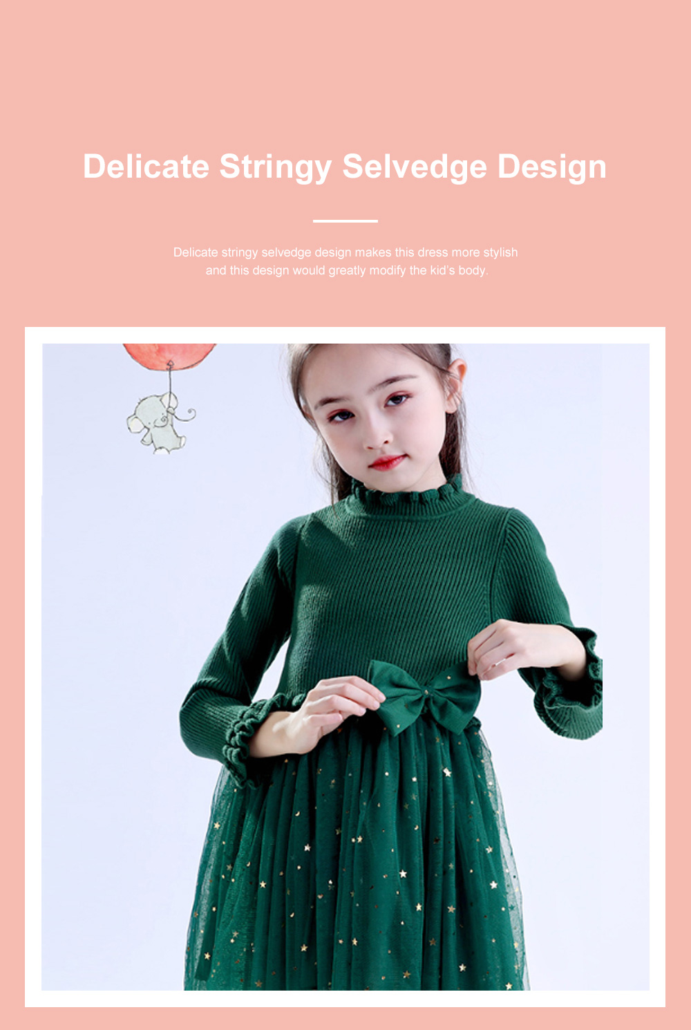 Fancy Elegant Winter Spring Autumn Children Girls Long-sleeve Sweater Dress Veil Princess Skirt with Star Sparkle Bowknot Decoration 4