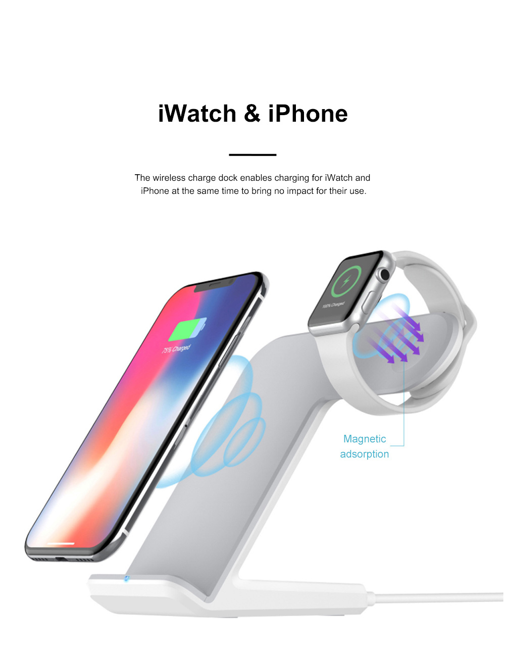 Vertical Wireless Charger Upright Quick-acting Two in One Recharger Compatible for iPhone X iWatch Samsung Wireless Charge Dock 3