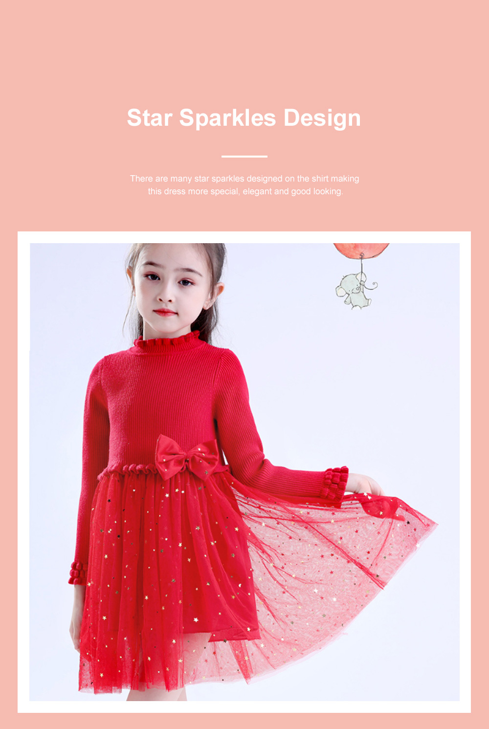 Fancy Elegant Winter Spring Autumn Children Girls Long-sleeve Sweater Dress Veil Princess Skirt with Star Sparkle Bowknot Decoration 2