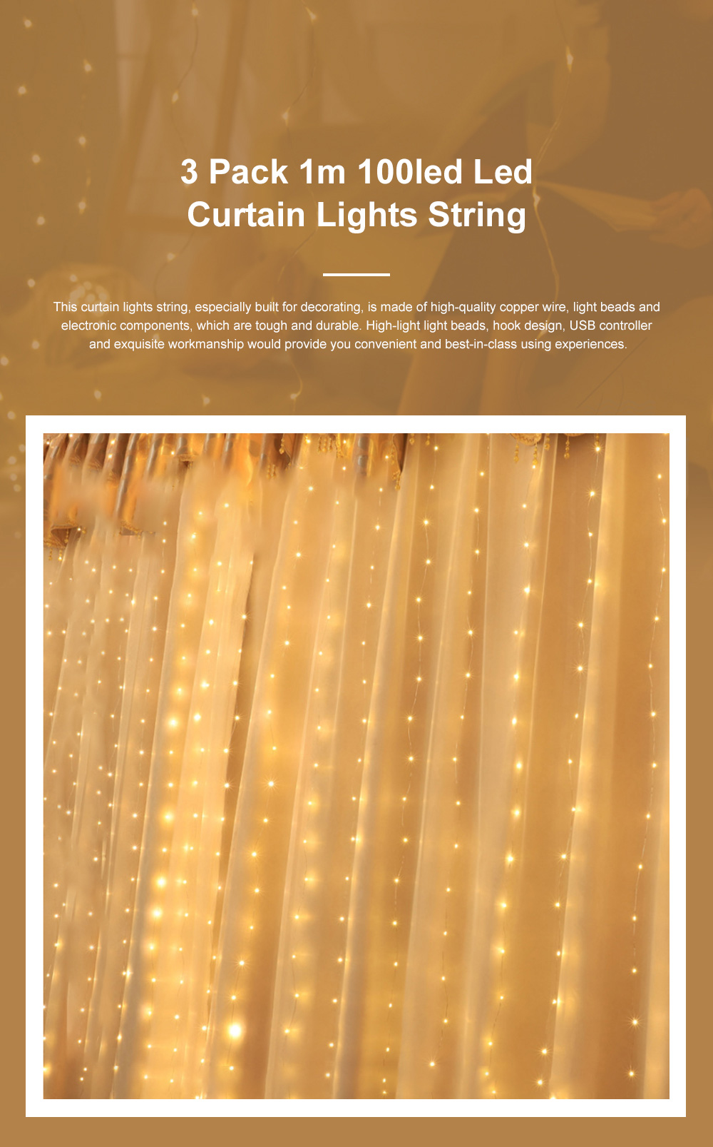 3 Pack 1m 100led Fancy Copper Wire Lights String Waterproof Curtain Lamps USB Control Room Decoration Ornament with Hook Christmas lights 0