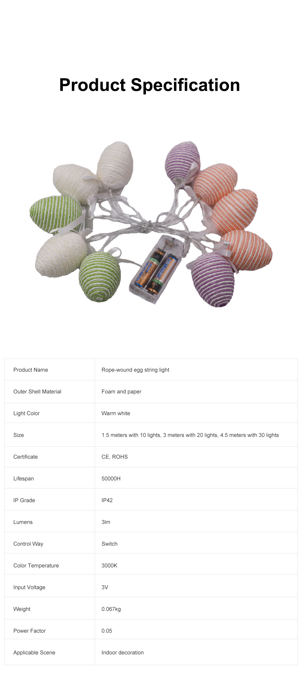 10 20 30 LEDs Creative Warm Rope-wound Colored Egg String Light for Easter Decoration Battery-powered LED Lamp String 1.5m 3m 4.5m Warm White 6