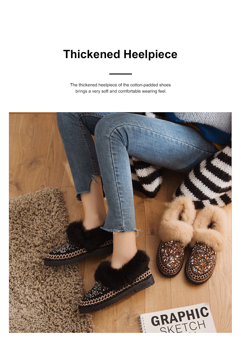 Thermal Cotton-padded Shoes for Women Winter Wear Paillette Flat-heeled PU Fur Shoes Thickened and Brushed Snow Boot 3