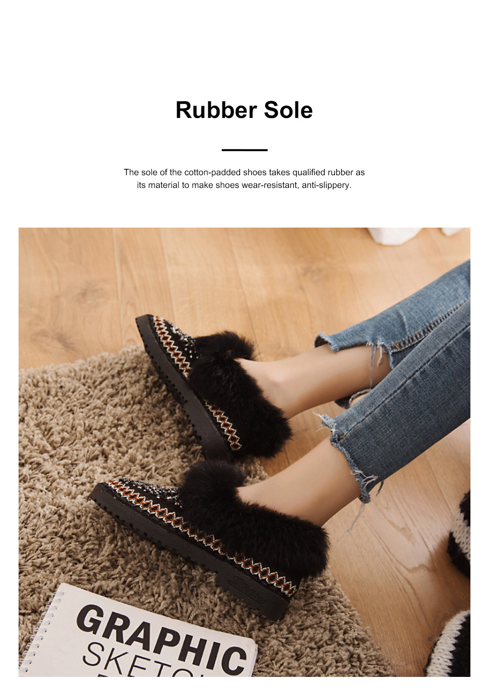 Thermal Cotton-padded Shoes for Women Winter Wear Paillette Flat-heeled PU Fur Shoes Thickened and Brushed Snow Boot 1
