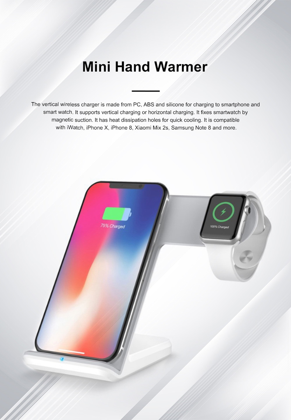 Vertical Wireless Charger Upright Quick-acting Two in One Recharger Compatible for iPhone X iWatch Samsung Wireless Charge Dock 0