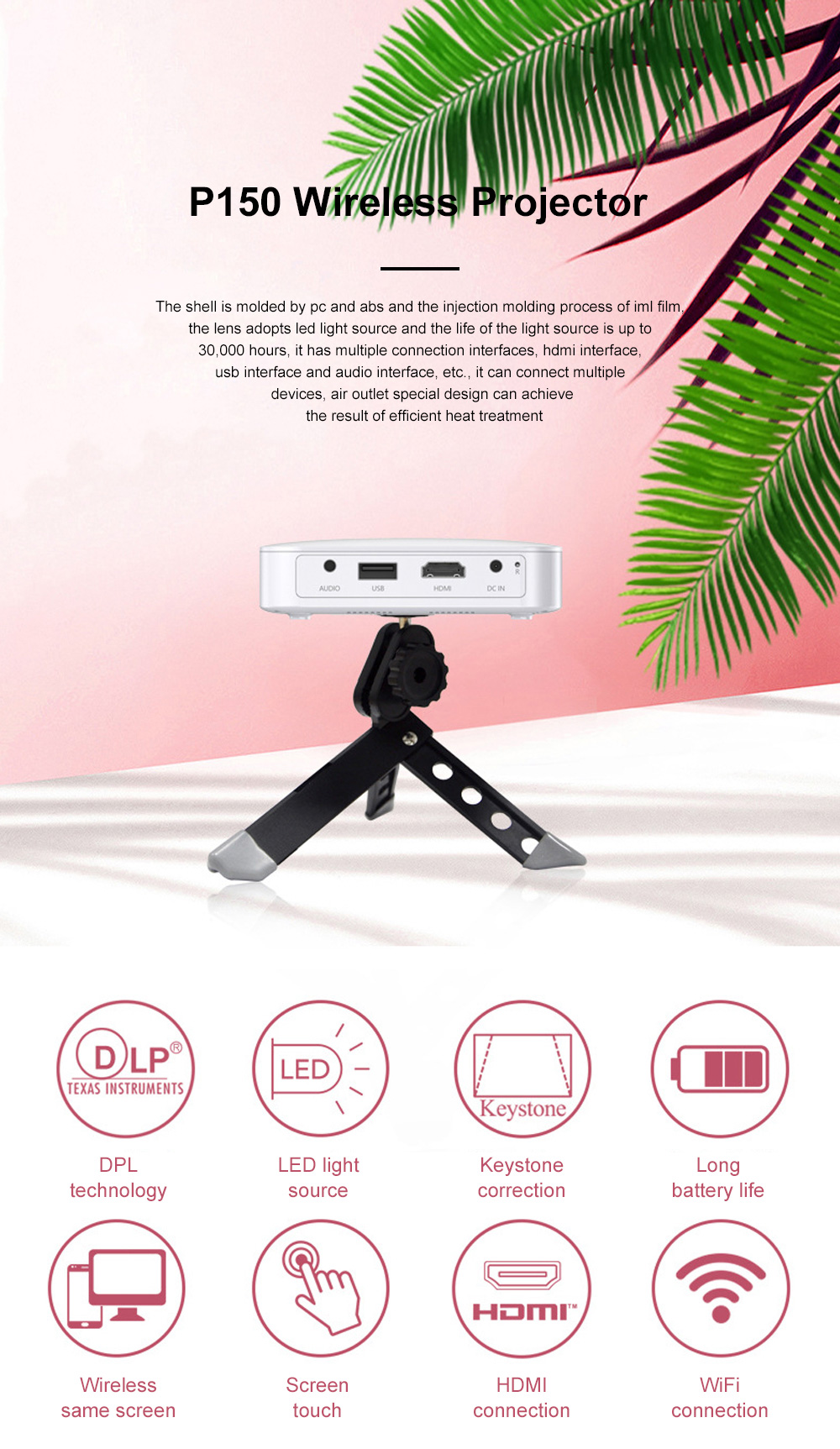Hot Selling P150 Wireless Portable Projector Wifi Mini Dlp Led Projector Android 6.0 HD 1920*1080P For Home Office Use 0