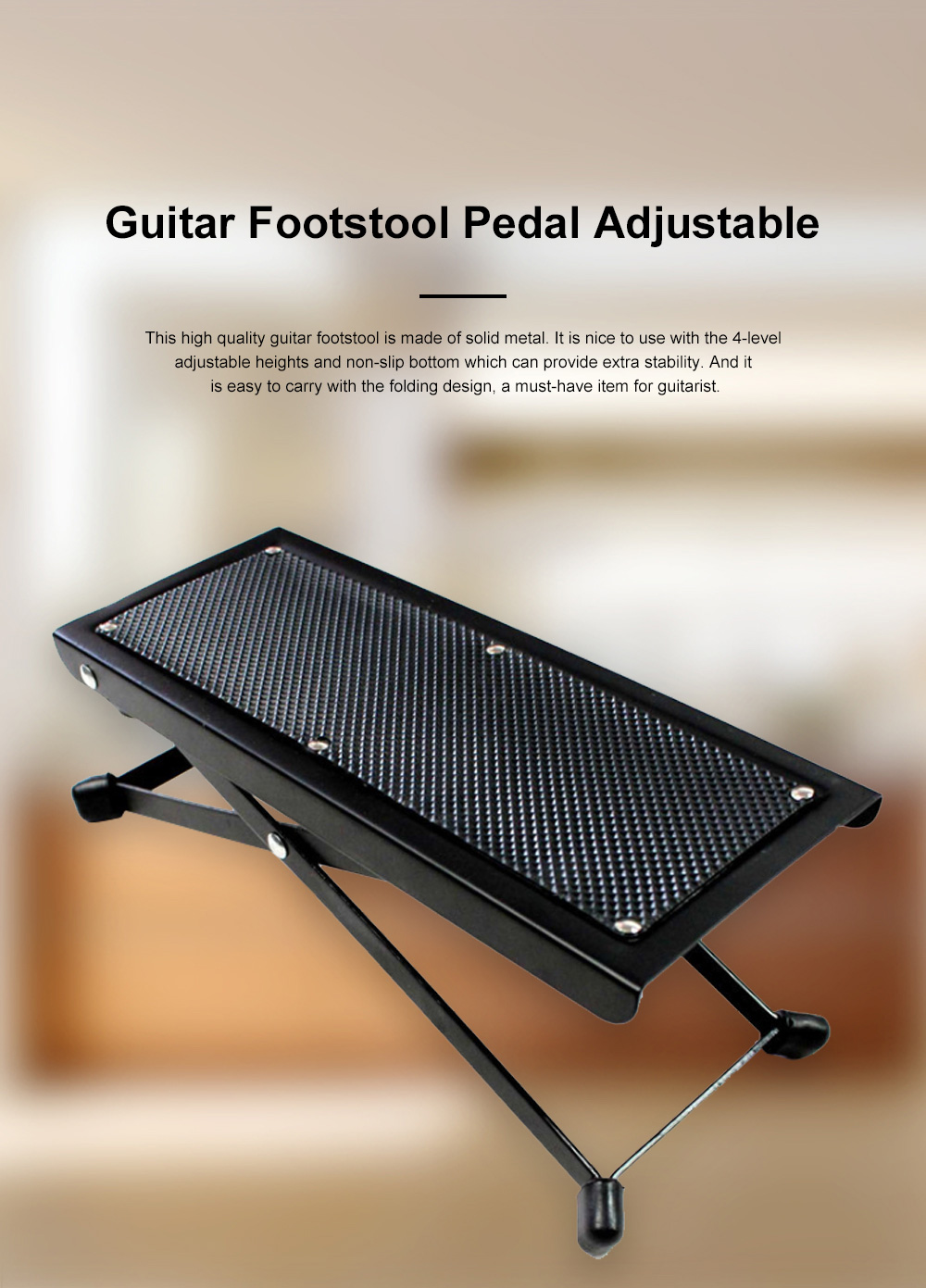 Solid Guitar Footstool Foot Rest 4-Level Adjustable Height Footstool Pedal Heavy Duty Metal Anti-slip Classical Pedal 0