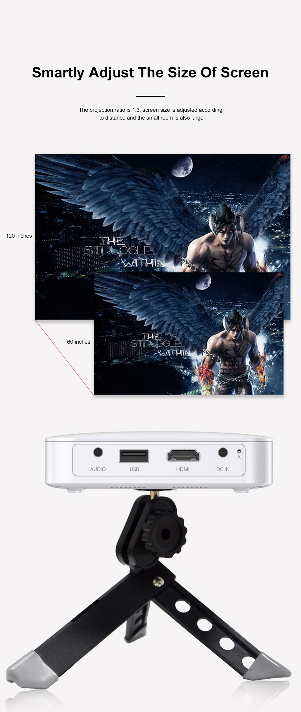 Hot Selling P150 Wireless Portable Projector Wifi Mini Dlp Led Projector Android 6.0 HD 1920*1080P For Home Office Use 7