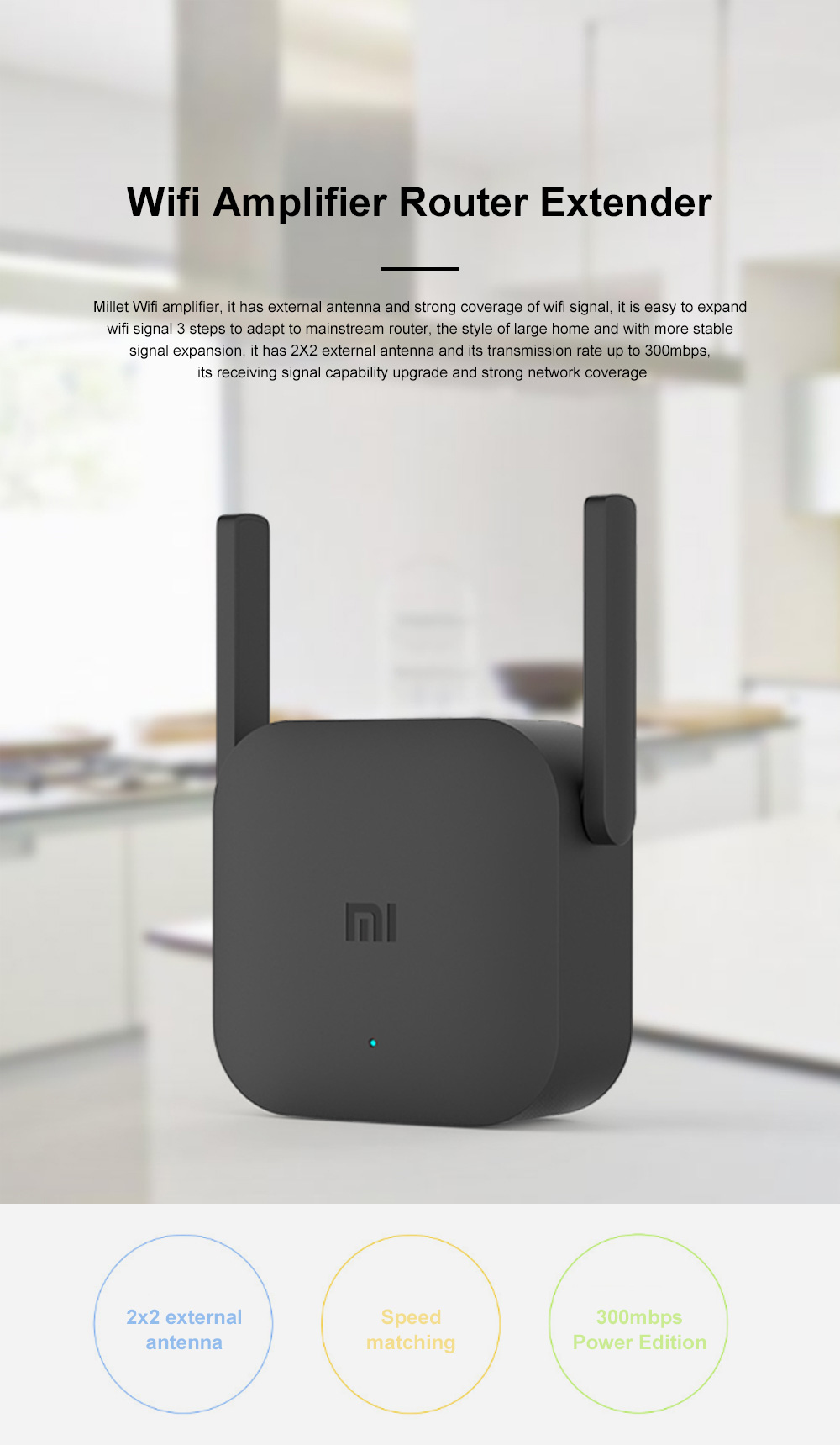 Xiaomi Wifi Repeater Pro Electric Power Cat 2.4G Wireless Range Extender Router Access Point 300mbps Home Plug 300m Signal Amplifier 0