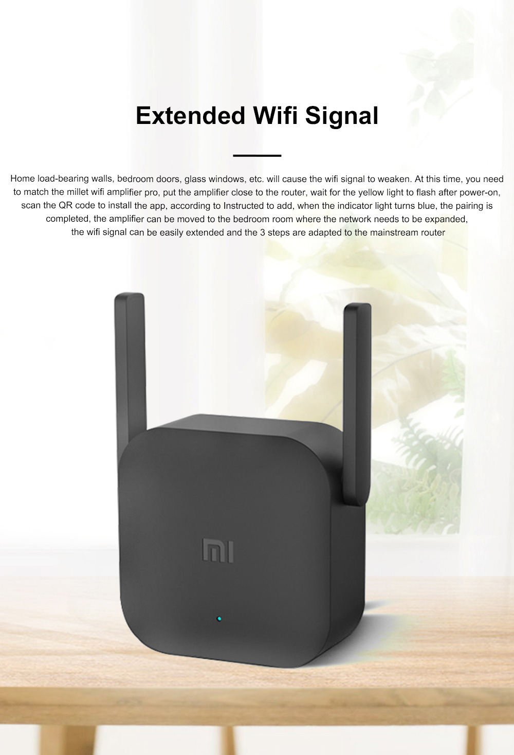 Xiaomi Wifi Repeater Pro Electric Power Cat 2.4G Wireless Range Extender Router Access Point 300mbps Home Plug 300m Signal Amplifier 2
