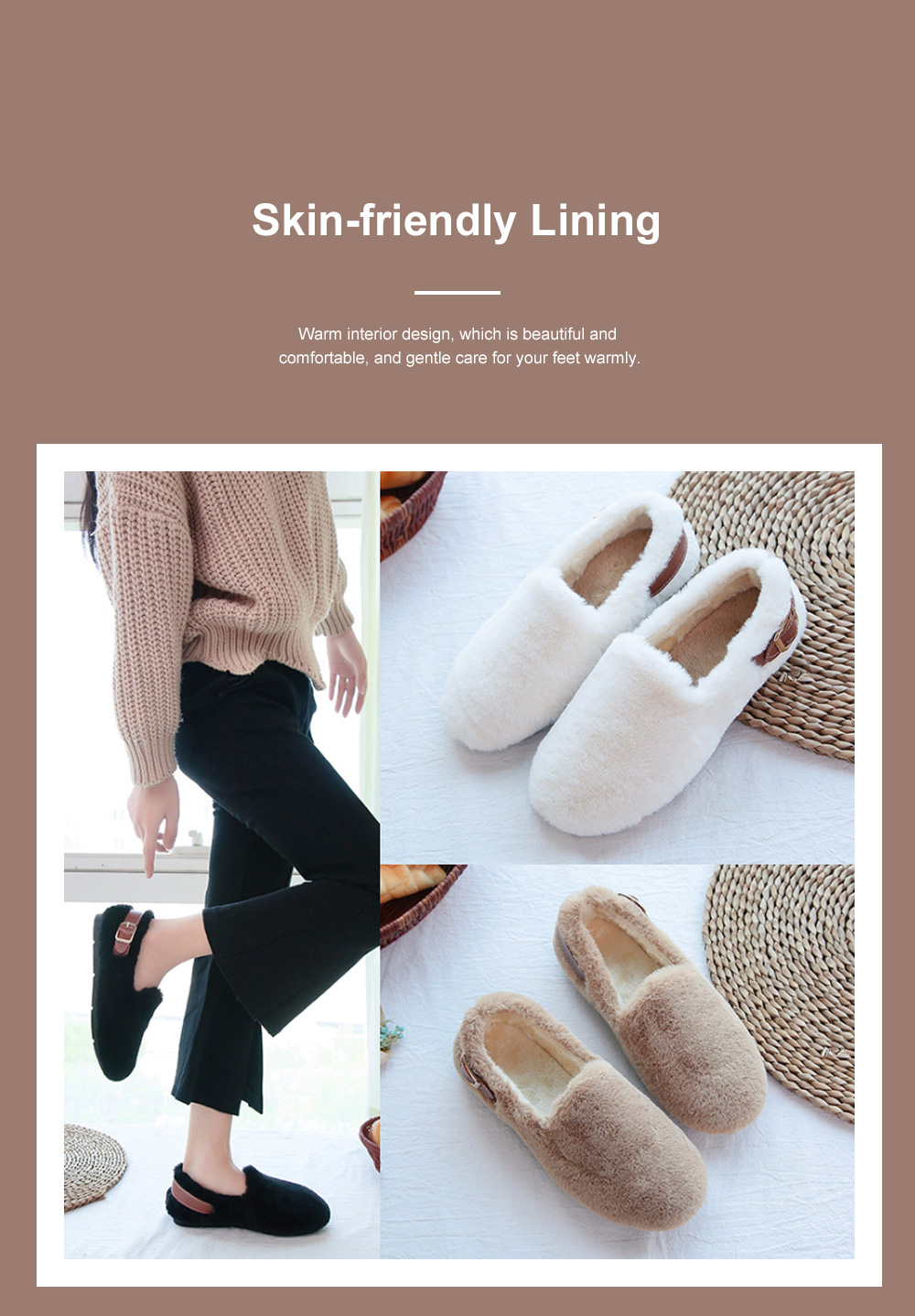 Fuzzy Plush Flats for Women Warm Ankle Boots with Anti-Skid Rubber Sole and Skin-friendly Lining in Winter 2