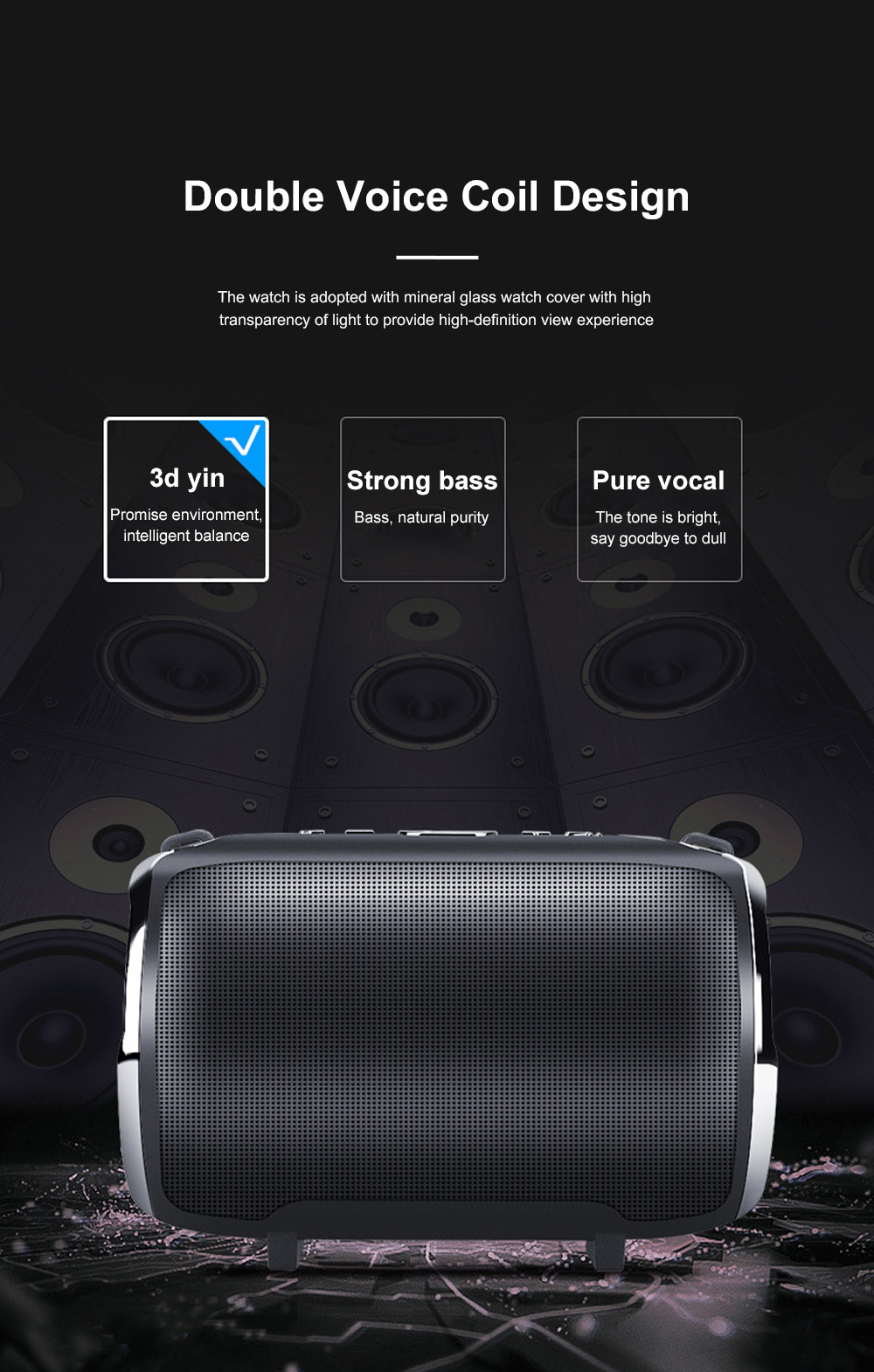 Column Bluetooth Speaker Special Rotary Knob Subwoofer Outdoor Portable Wireless Mini Card Mini Speaker HIFI Gift 3