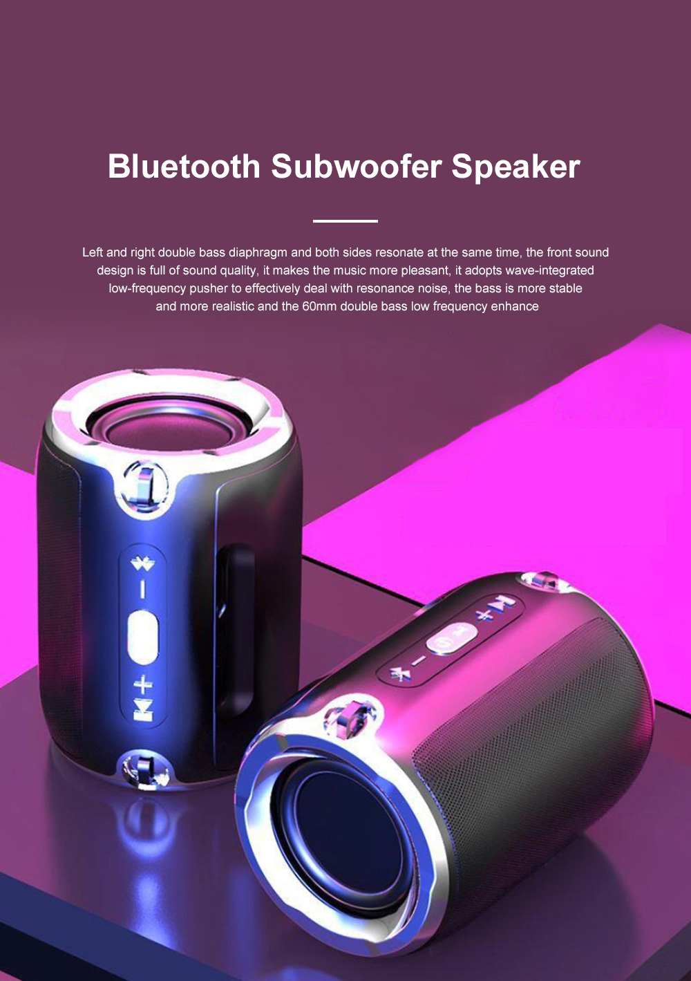 Column Bluetooth Speaker Special Rotary Knob Subwoofer Outdoor Portable Wireless Mini Card Mini Speaker HIFI Gift 0