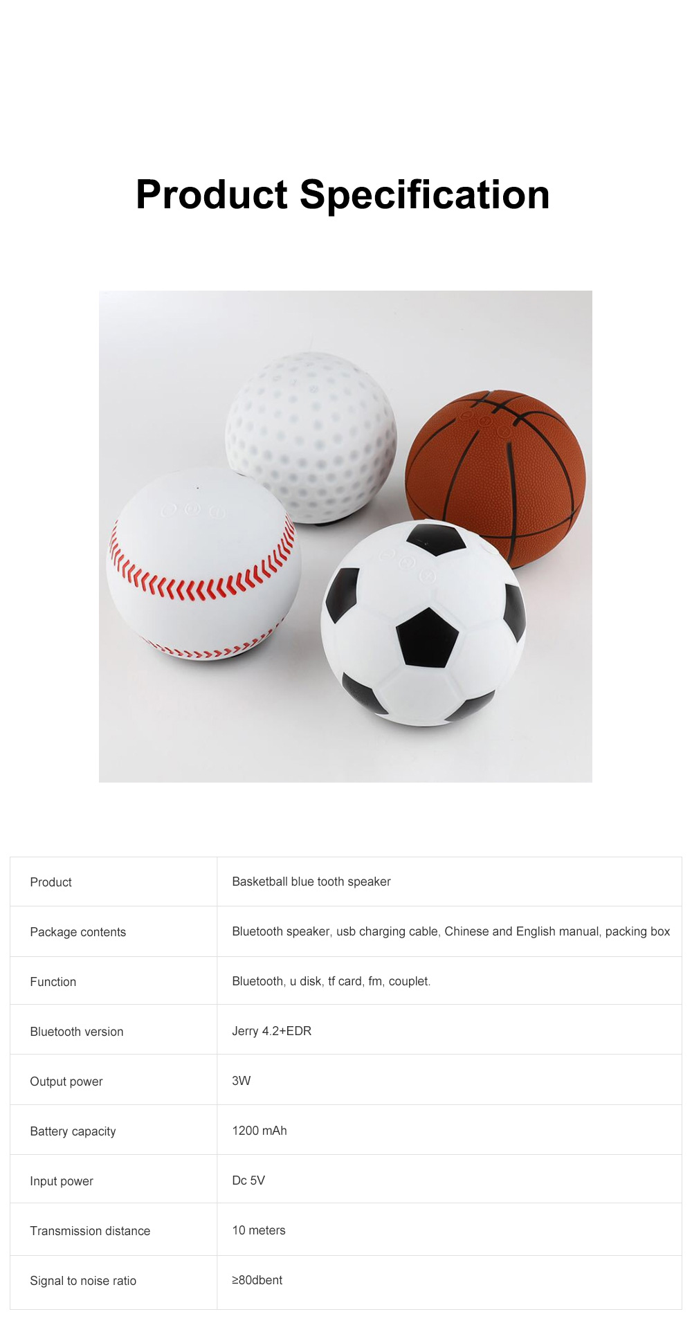 Basketball Football Baseball Golf Subwoofer Loudspeaker Blue Tooth Tf Card Mp3 Mini Wireless Portable Speaker 6