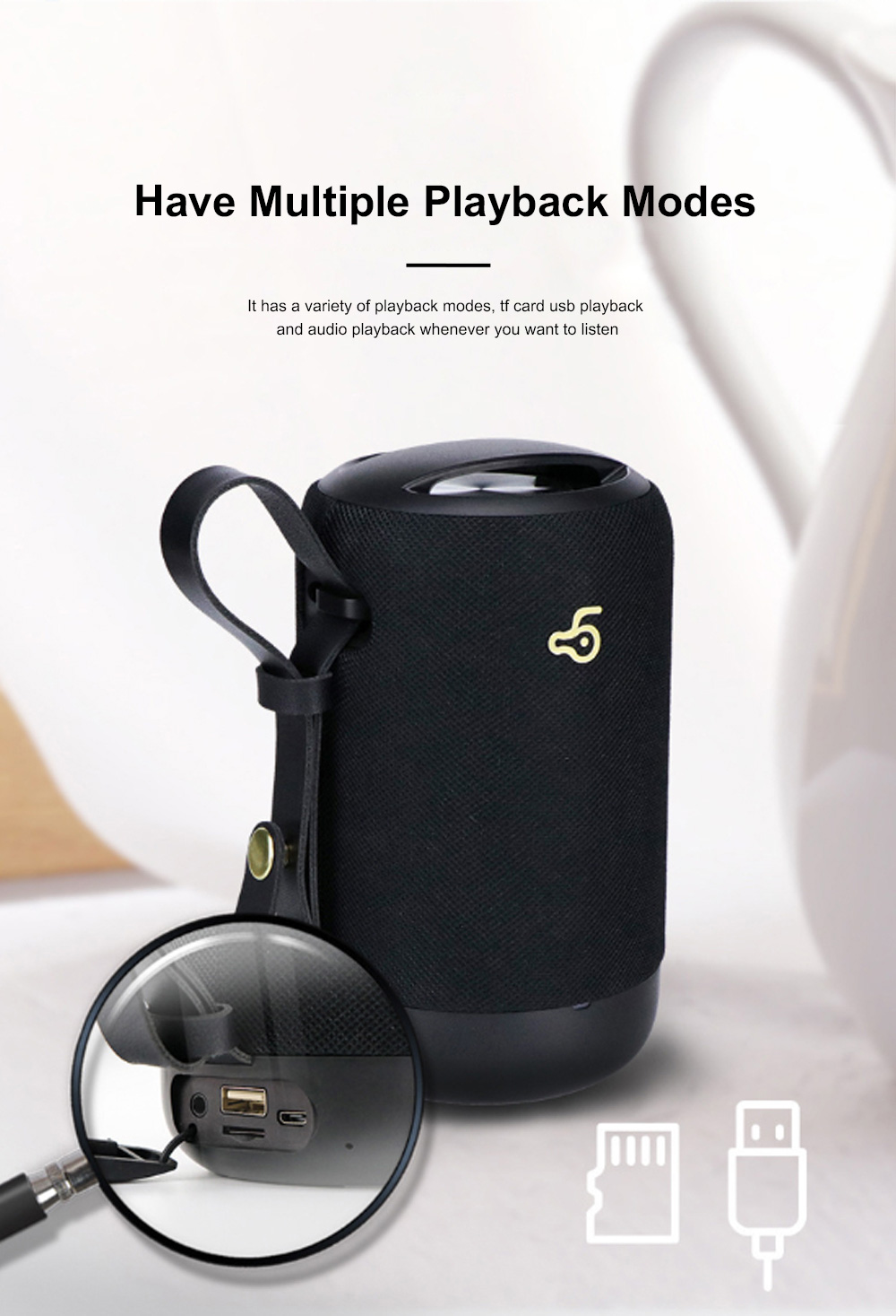 New Design Outdoor Portable Wireless Mini Portable Bluetooth Speaker Stereo Support TF Card Usb Charge Radio Subwoofer With Shoulder Strap 7
