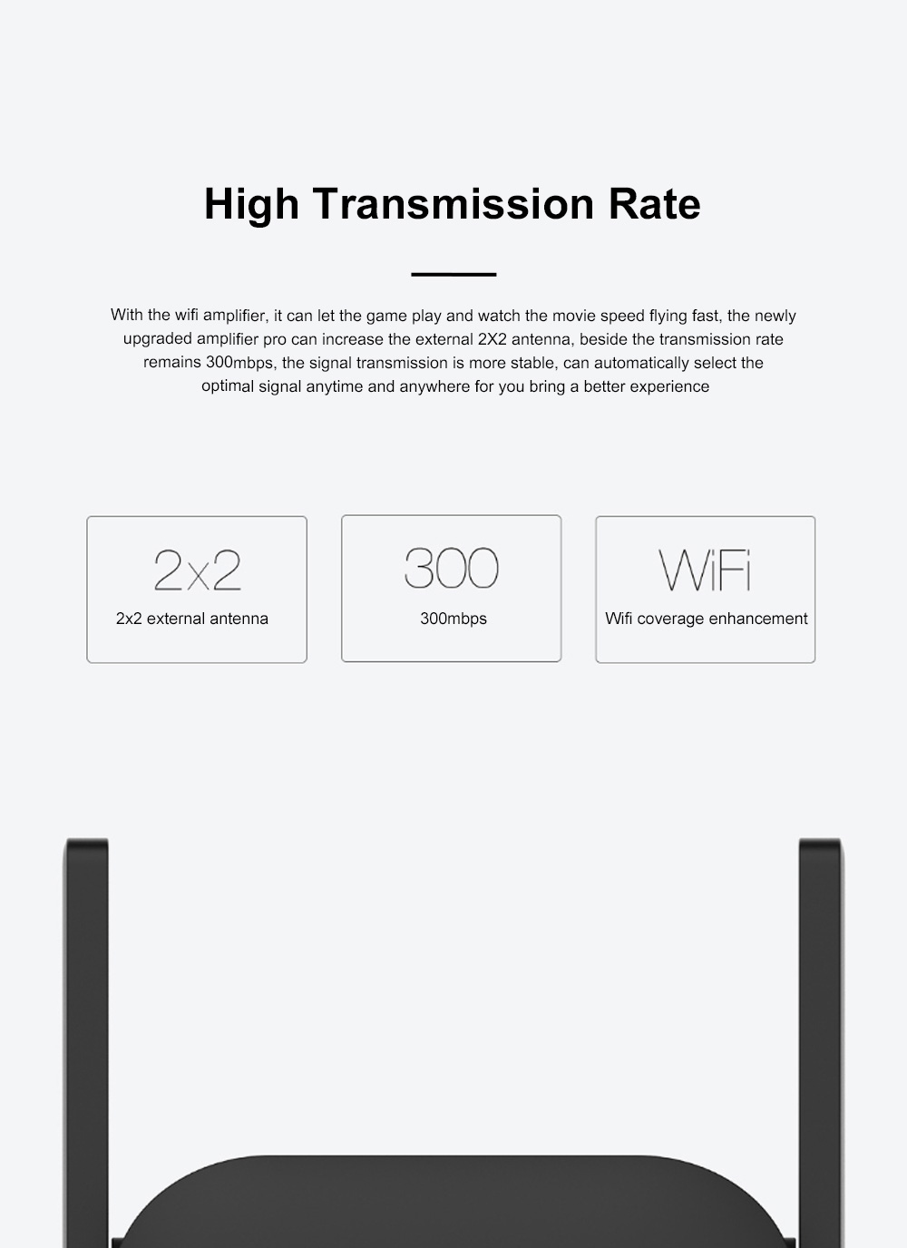Xiaomi Wifi Repeater Pro Electric Power Cat 2.4G Wireless Range Extender Router Access Point 300mbps Home Plug 300m Signal Amplifier 4