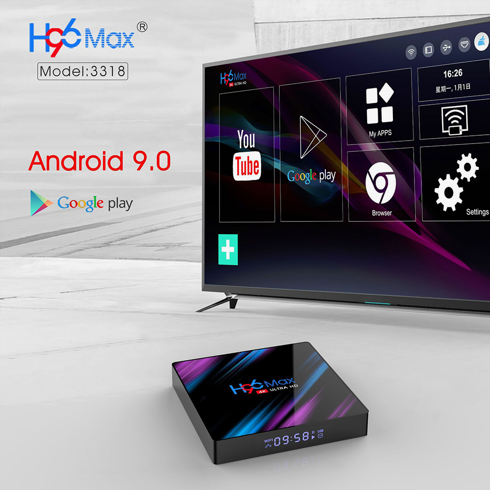 H96 MAX 4GB 64GB TV Box RK3318 Smart 4K IPTV Box with Android 9.0 5G Wifi Bluetooth 4.0 1