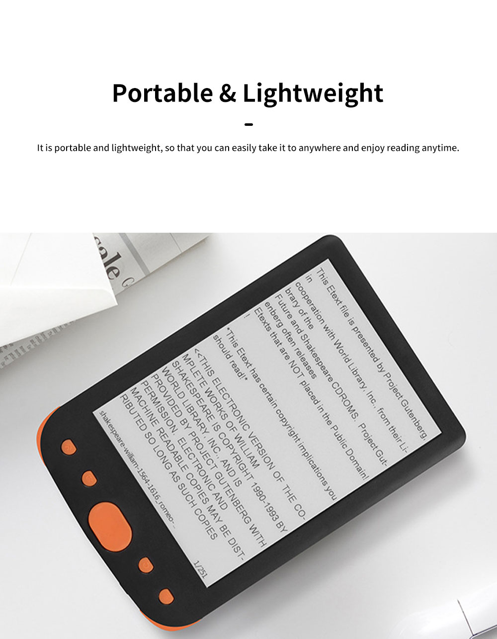 6 inch Ebook Reader for Kids Students E-book Reader for Studying Reading Students Portable Eye Protection Electronic Books Reader with Flat Screen Support WIFi 1