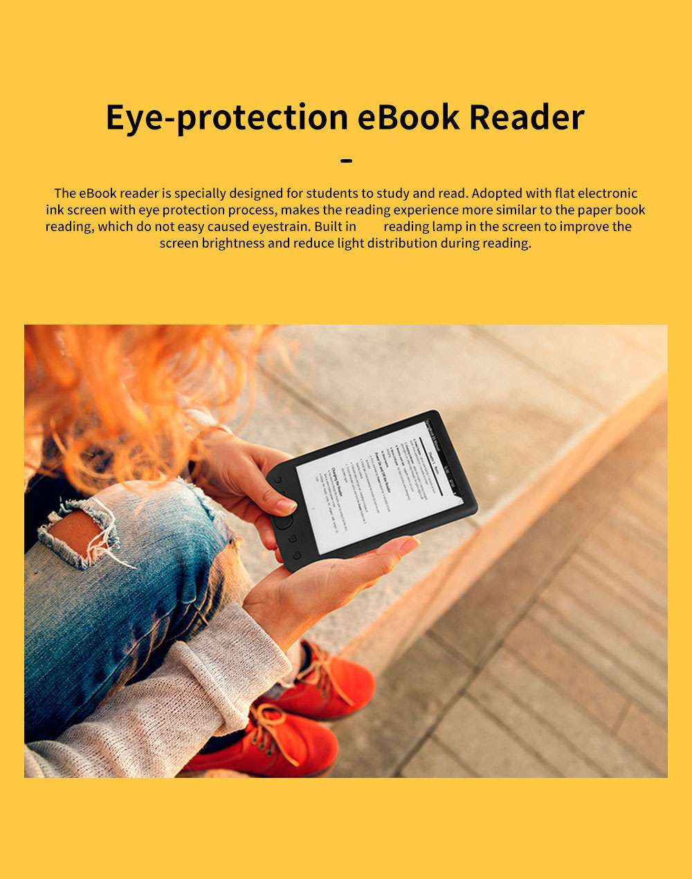 Eye-protection Electronic Book eBook Reader for Kids Students Teachers Flat Elink Screen Portable Waterproofing eBook Reader Support TF Card 0