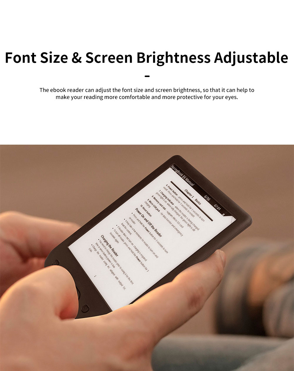 Eye-protection Electronic Book eBook Reader for Kids Students Teachers Flat Elink Screen Portable Waterproofing eBook Reader Support TF Card 1