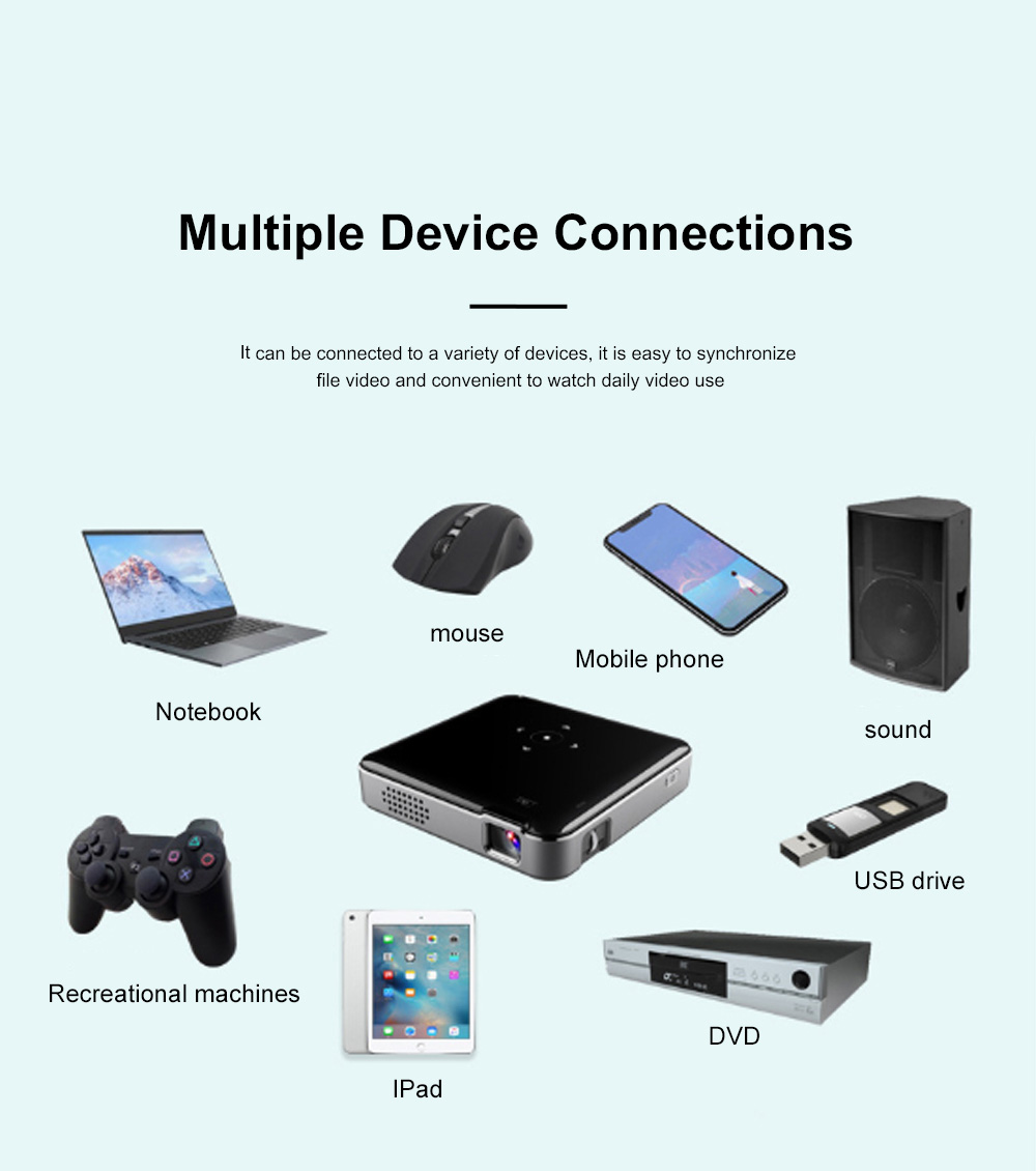 S80 Android Smart Projector HD 1080P 854x480 Wireless Miracast Airplay Wifi Display Smartphone Mini Pocket Projector 6