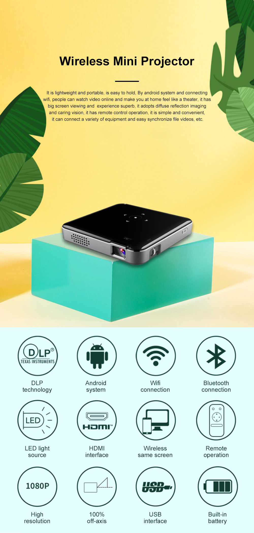 S80 Android Smart Projector HD 1080P 854x480 Wireless Miracast Airplay Wifi Display Smartphone Mini Pocket Projector 0