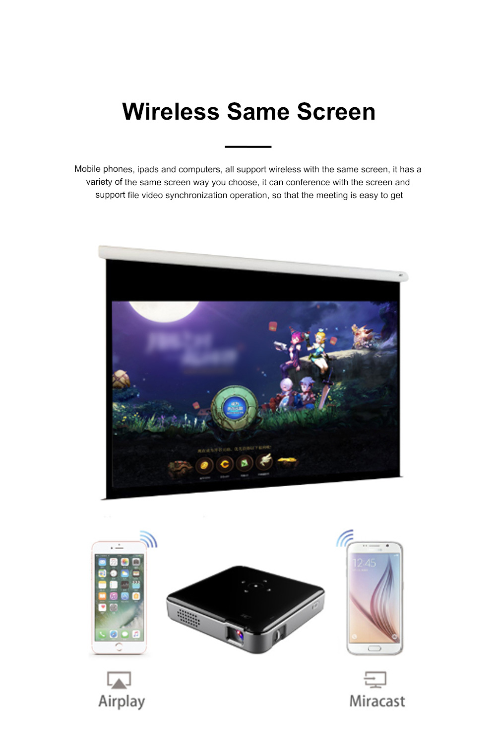 S80 Android Smart Projector HD 1080P 854x480 Wireless Miracast Airplay Wifi Display Smartphone Mini Pocket Projector 3