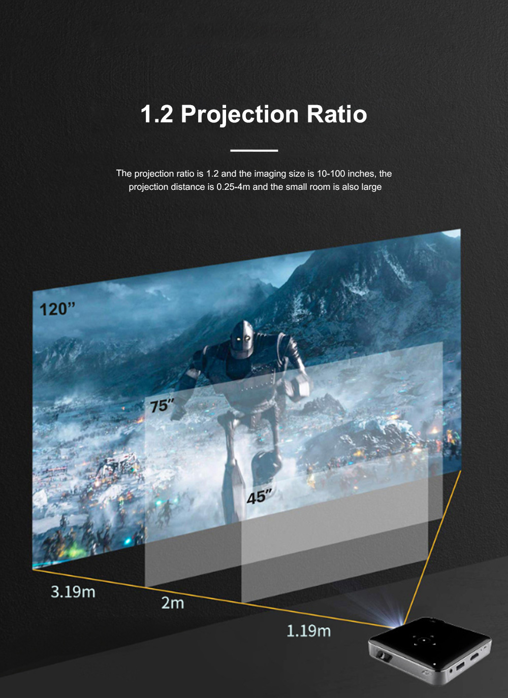 S80 Android Smart Projector HD 1080P 854x480 Wireless Miracast Airplay Wifi Display Smartphone Mini Pocket Projector 4