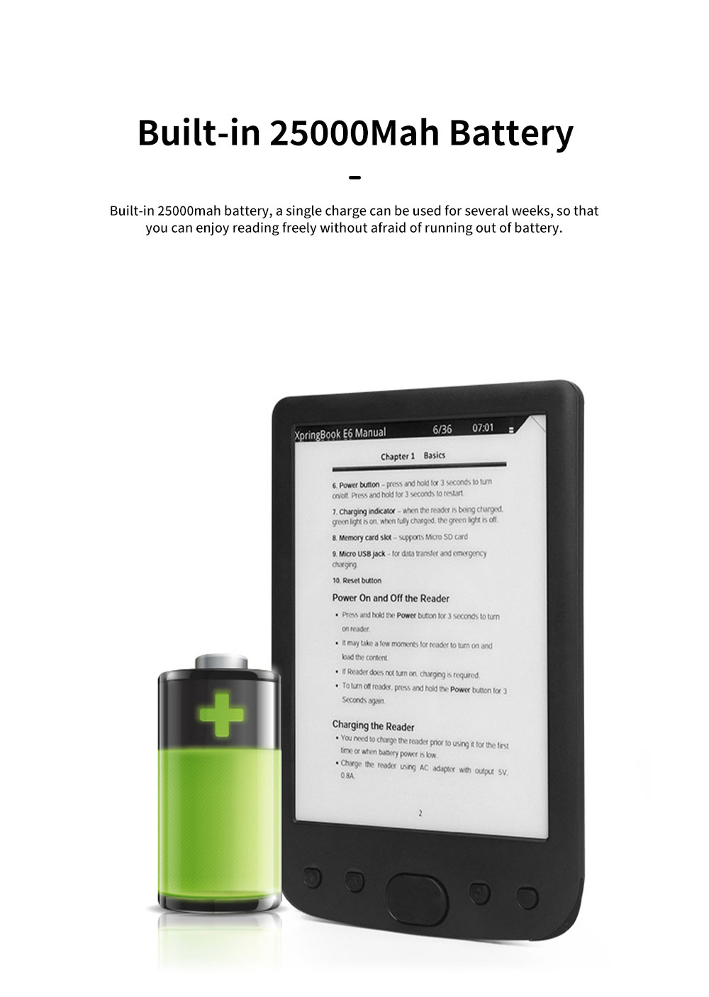 6 inch Ebook Reader for Kids Students E-book Reader for Studying Reading Students Portable Eye Protection Electronic Books Reader with Flat Screen Support WIFi 3