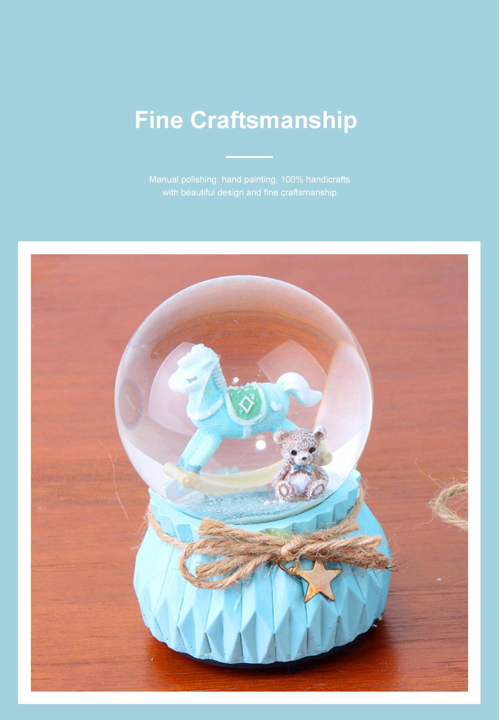 Deer Crystal Ball Rotating Musical Box Resin Base Snowflake Craft Ball for Birthday Gift Christmas Decoration 4