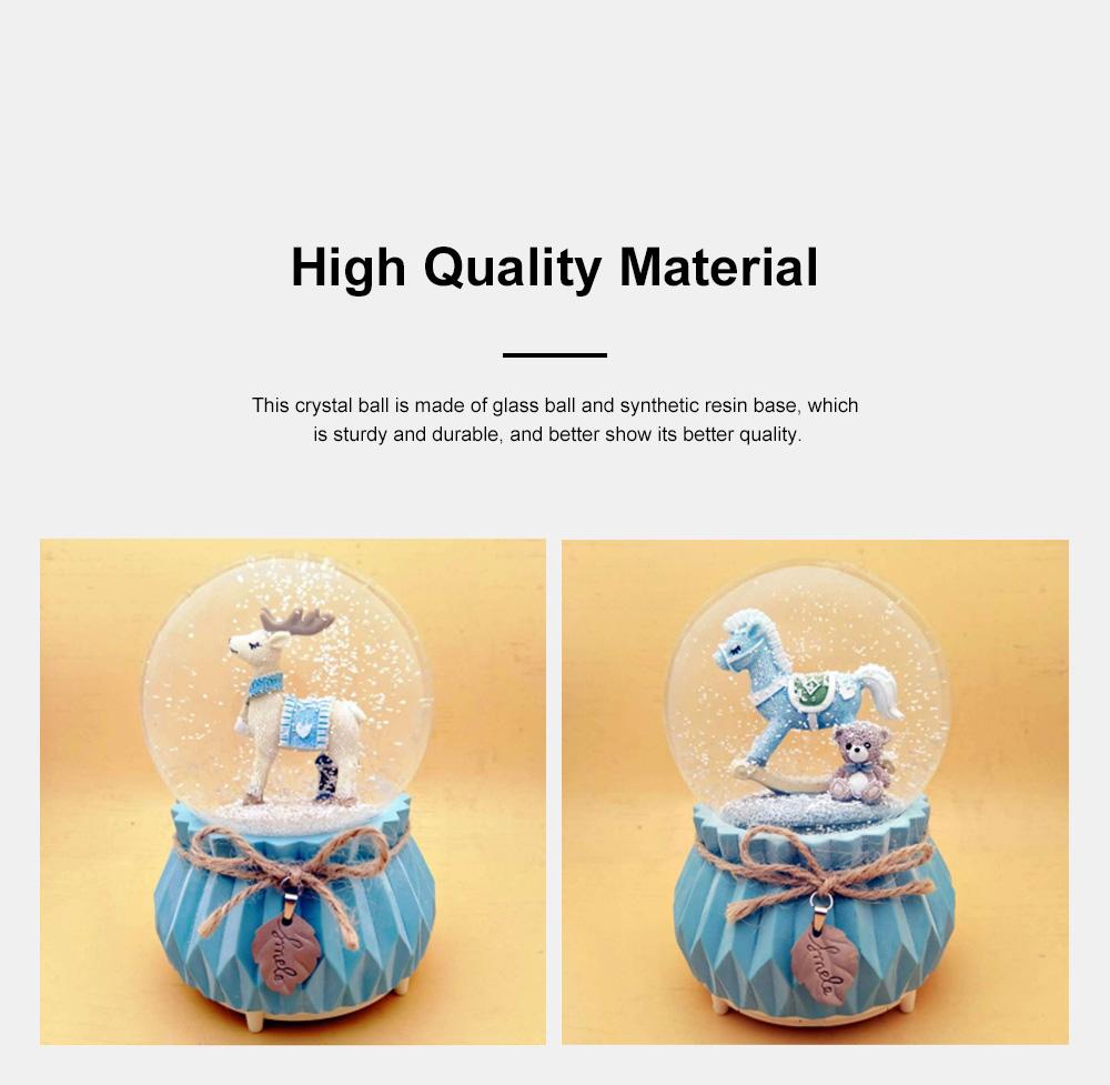 Deer Crystal Ball Rotating Musical Box Resin Base Snowflake Craft Ball for Birthday Gift Christmas Decoration 5