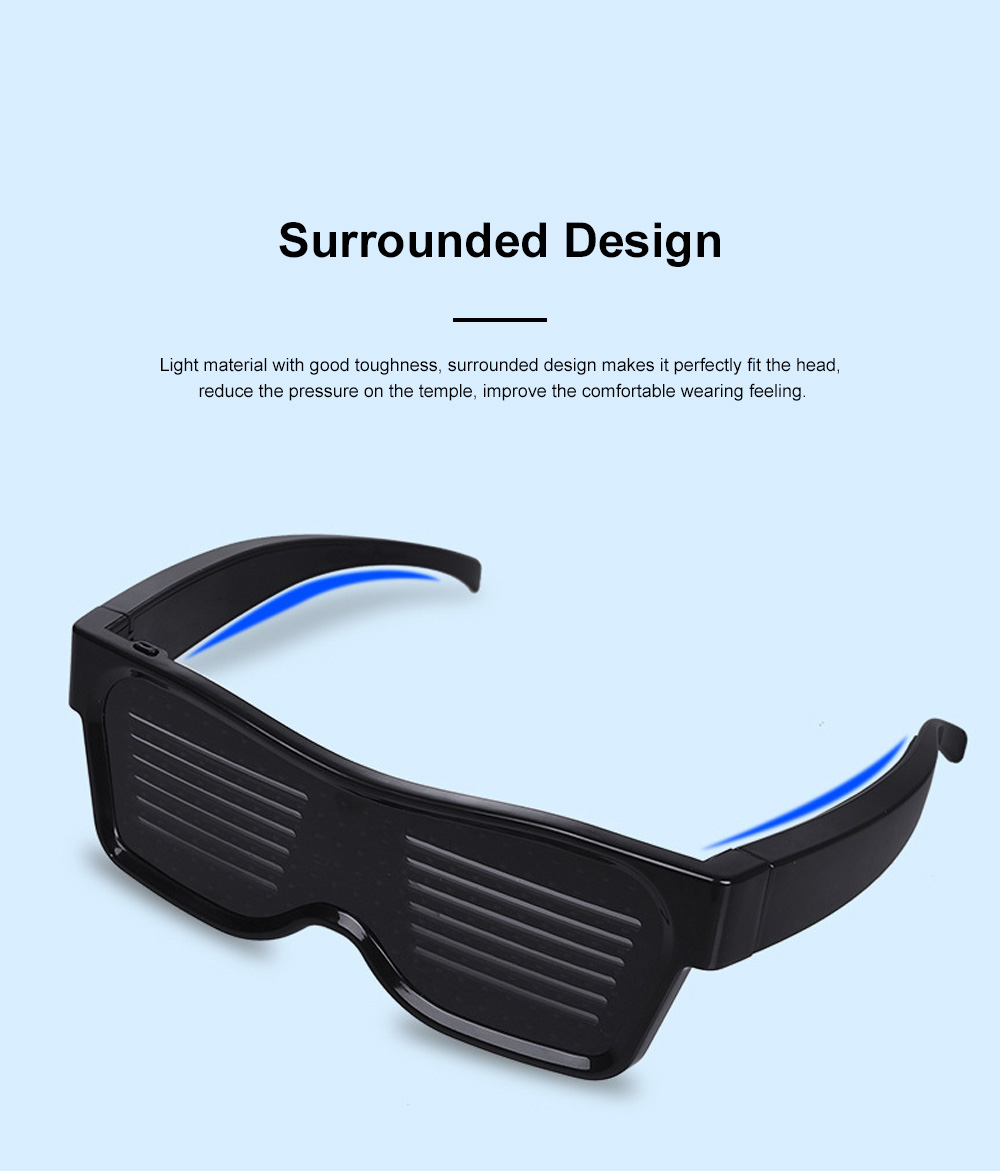 Magic LED Eyeglasses Bluetooth APP Control Luminous Glasses with Silicone Nose Pads for Party Stage Performance 3