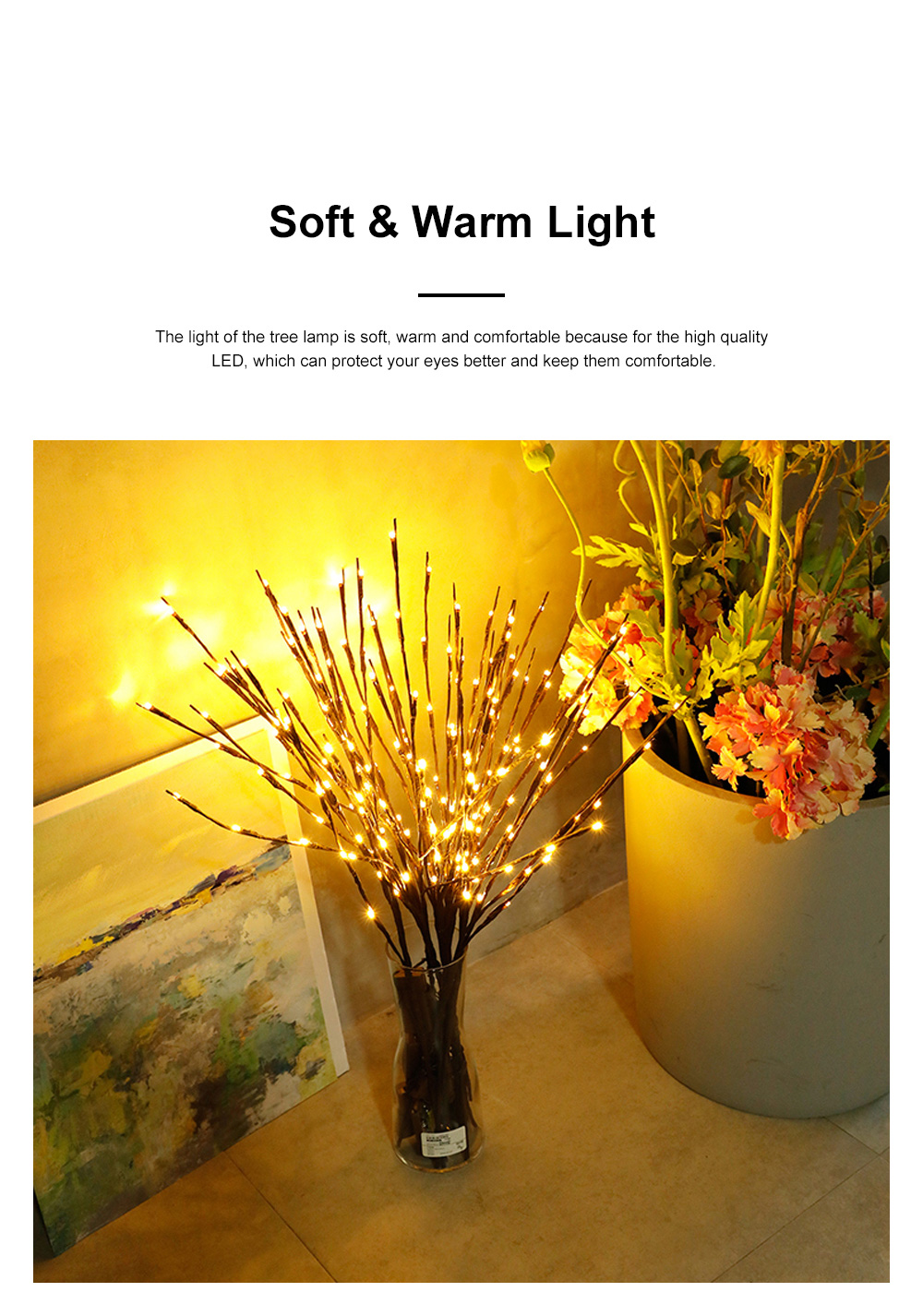 5Pack 10Pack LED Lantern Branch Light Battery Powered Decorative Floral Lights with 20 LEDs for Home Christmas Decoration Party Festival 3