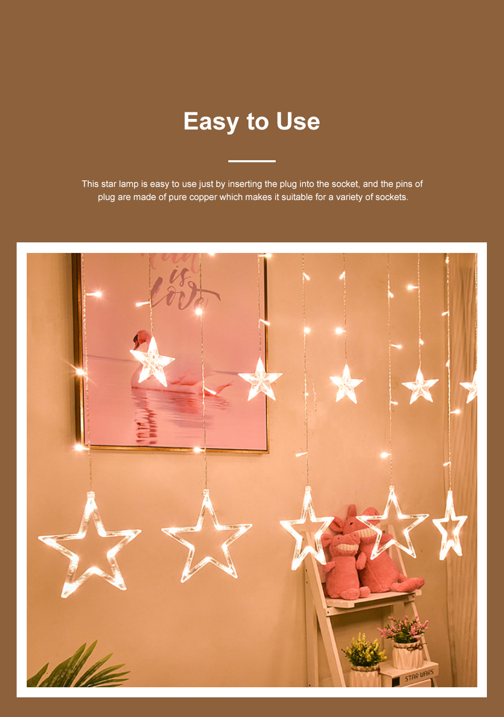 3m Twinkle Star String Lights Waterproof Star Curtain Lights with Color Changing for Wedding Christmas Home Garden Party Festival Decoration 2