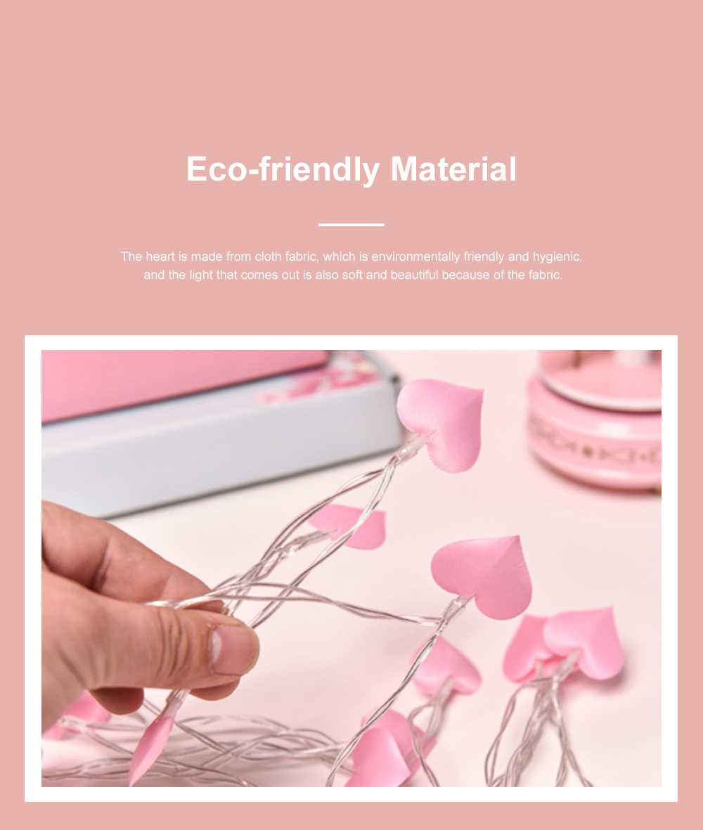 3m 5m 10m Cloth Art Love Lamp String Heart Shape Battery Powered LED String Twinkling Lights for Home Party Festival Wedding Xmas Decoration 4