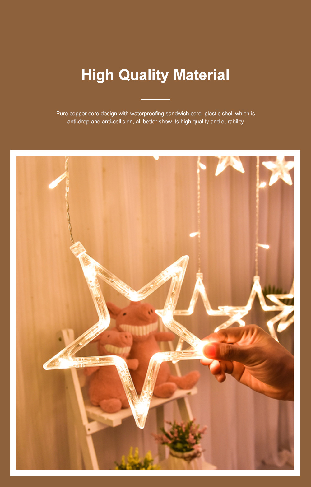 3m Twinkle Star String Lights Waterproof Star Curtain Lights with Color Changing for Wedding Christmas Home Garden Party Festival Decoration 4