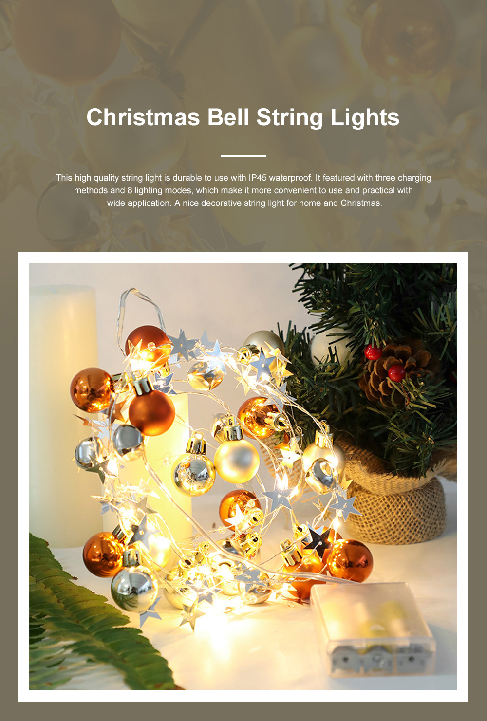 Christmas Bell String Lights USB or Battery Powered LED Fairy Lights with IP54 Waterproof for Indoor Outdoor Xmas New Year Decoration Warm White 0