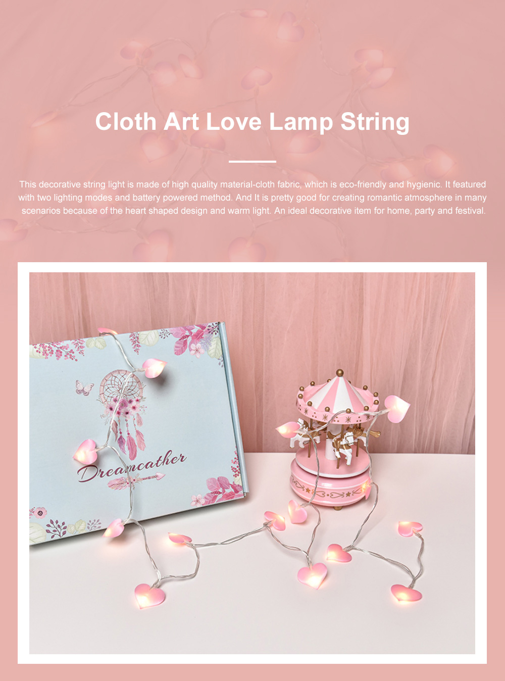 3m 5m 10m Cloth Art Love Lamp String Heart Shape Battery Powered LED String Twinkling Lights for Home Party Festival Wedding Xmas Decoration 0