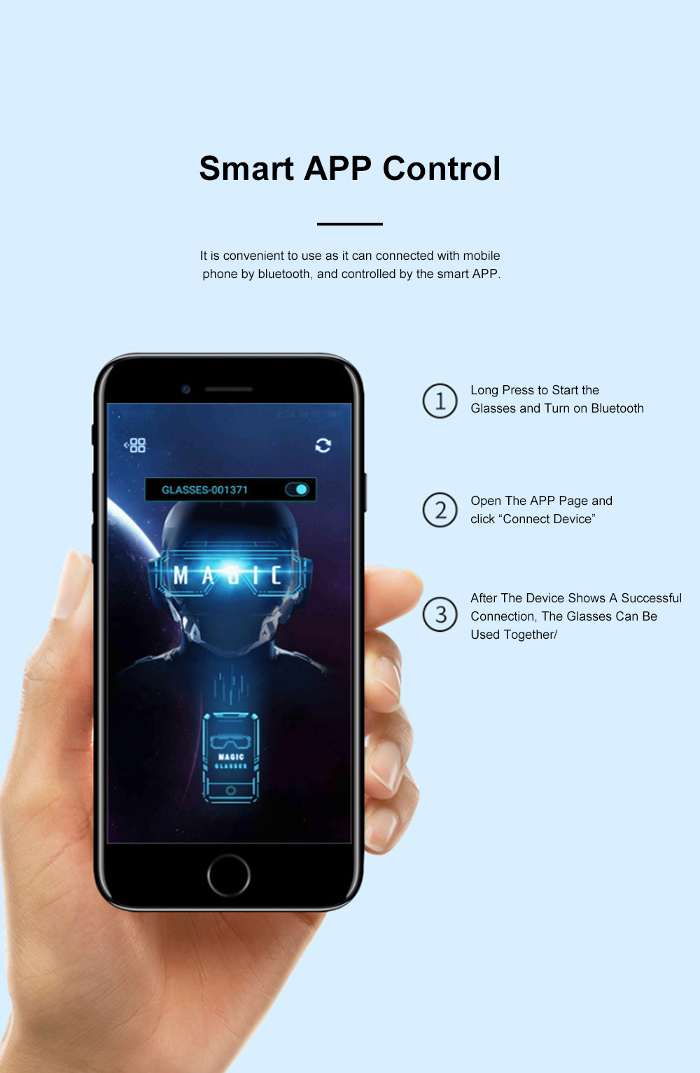 Magic LED Eyeglasses Bluetooth APP Control Luminous Glasses with Silicone Nose Pads for Party Stage Performance 5