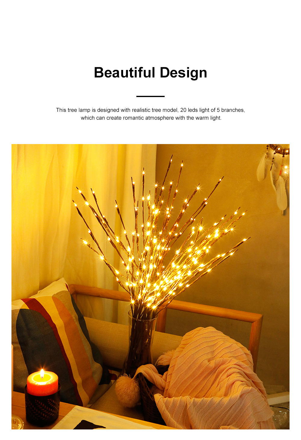 5Pack 10Pack LED Lantern Branch Light Battery Powered Decorative Floral Lights with 20 LEDs for Home Christmas Decoration Party Festival 1