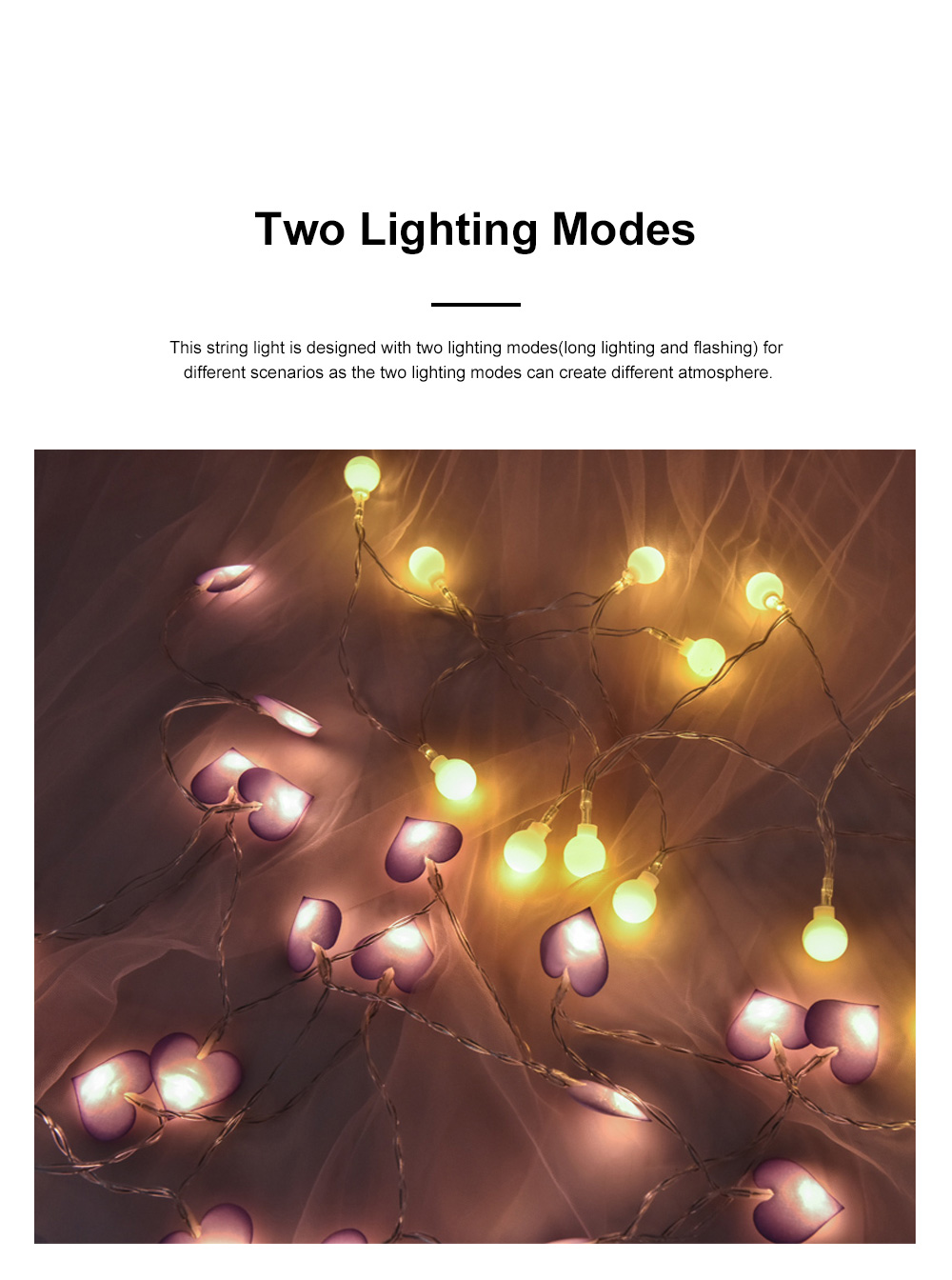 3m 5m 10m Cloth Art Love Lamp String Heart Shape Battery Powered LED String Twinkling Lights for Home Party Festival Wedding Xmas Decoration 1