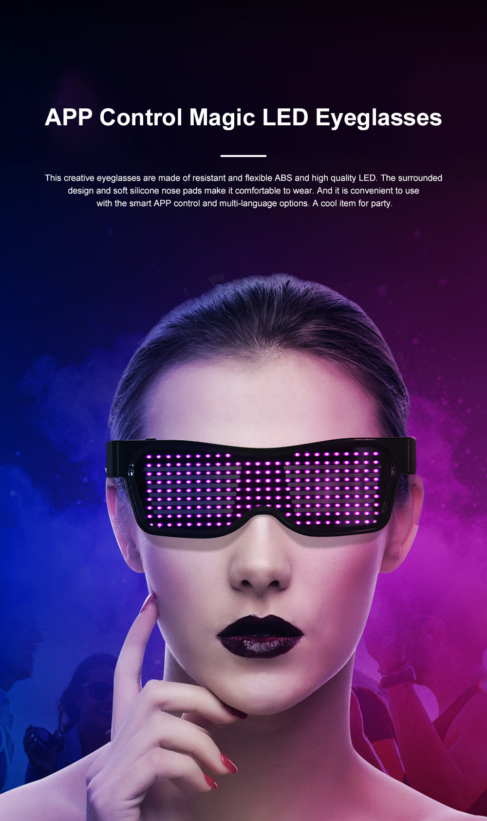 Magic LED Eyeglasses Bluetooth APP Control Luminous Glasses with Silicone Nose Pads for Party Stage Performance 0